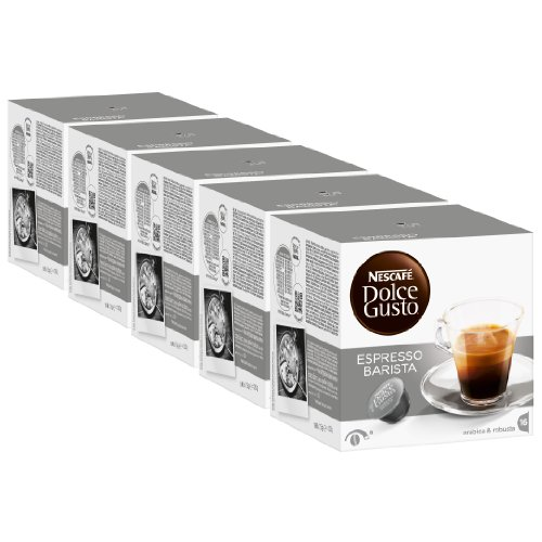 Nescafé Dolce Gusto Espresso Barista, Fuerte, Paquete de 5, 5 x 16 Cápsulas