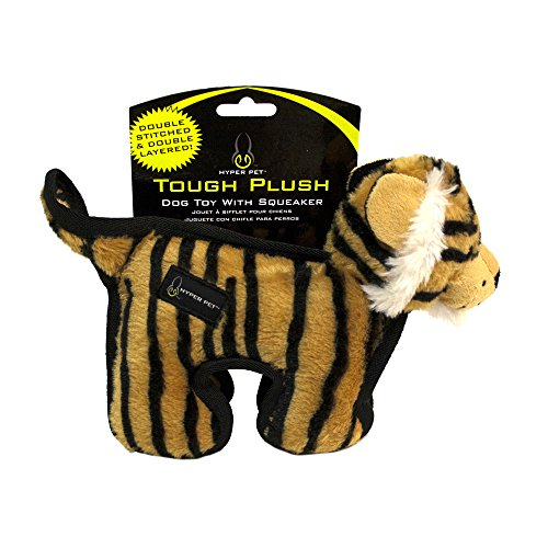 Hyper Pet Tough Plush Tiger Durable Dog Toy with Squeaker