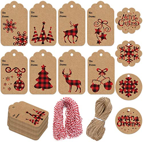 LOKIPA Christmas Kraft Paper Gift Tags,120 Pieces Christmas Label Gift Tag with 230 feet String