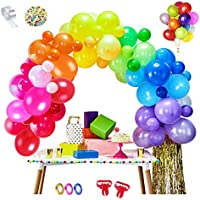 MMTX 100 pcs Rainbow Balloons Assorted Latex Party Ballons by Air or Helium with 2pcs Baloons Tying Tool 5M Balloon Chain...