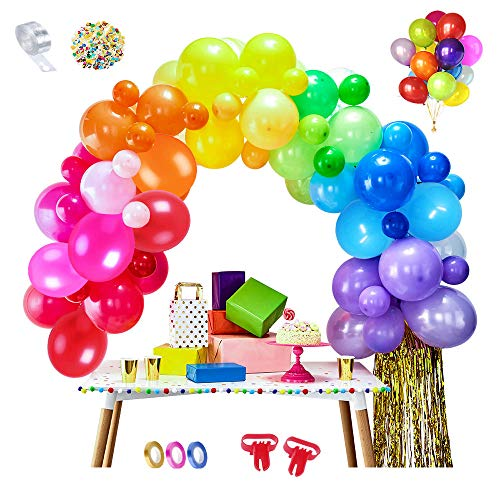 MMTX 100 pcs Rainbow Balloons Assorted Latex Party Ballons by Air or Helium with 2pcs Baloons Tying Tool 5M Balloon Chain for Birthday Parties, Weddings, Anniversary, Baby Shower(Confetti +3 Ribbons)