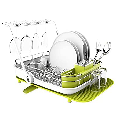 zova Premium Stainless Steel Multi-functional Dish Drying Rack with Cutlery Holder and Wine Glass Rack, Dish Drainer Utensil Organizer for Kitchen– Large, White &Green