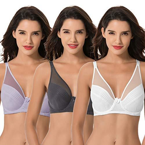 Curve Muse Women's Plus Size Minimizer Unlined Underwire Full Coverage Bra-3PK-LAVENDER,Gray,CREAM-42DD