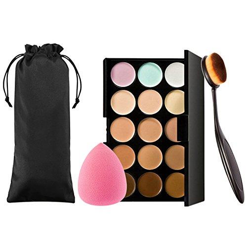 Vtrem 15 Couleurs Palette Correcteur De Teint Anti-Cernes Contour Palette Concealer + Pinceau De Maquillage + Éponges À Fond De Teint Maquillage Professionnel