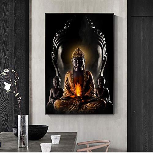 Gott Buddha Meditation Ölgemälde Buddhismus Poster Poster auf Leinwand drucken Wohnzimmer moderne religiöse Wand rahmenlose dekorative Kunst Bild A135 60x90cm
