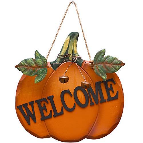 Wood Pumpkin Welcome Sign Fall Front Door Decor, Rustic Hanging Welcome Door Sign for Autumn Harvest...
