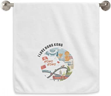 DIYthinker Hong Kong Famous Cartoon Places Circlet White Towels Soft Towel Washcloth 13X29 Inch