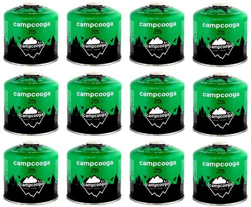 campcooga 12 x 500gr Butan Gaskartusche Schraubkartusche Ventil Camping Grill tragbar EN417 (12x 500gr Butangaskartusche)