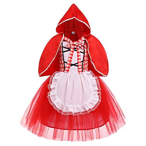 FYMNSI - Disfraz de caperucita roja para niños, cuento de hadas, princesa, disfraz, fiesta de carnaval, Halloween, Navidad, cosplay, delantal rojo a cuadros, con capa con capucha, juego de 2 piezas