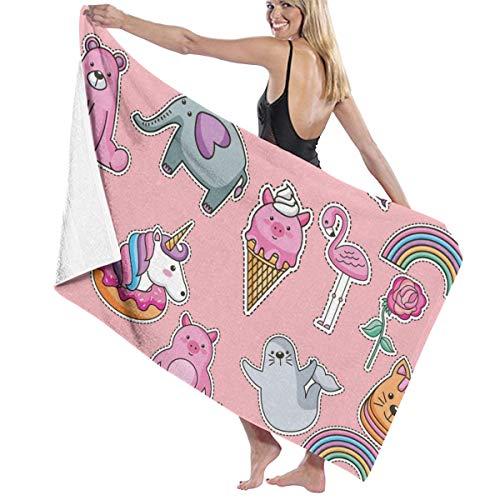 Rterss Großes Badetuch Set weich hoch saugfähig Unisex geeignet für Badezimmer Schwimmbad Strand Niedlich Einhorn Pegasus Flamingo Elefant Katze Personalisiert