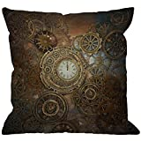 HGOD DESIGNS Steampunk Throw Pillow Cover,Rusty Steampunk with Clock and Different Gears Metal Machine Gold Bronze Decorative Pillow Cases Linen Square Cushion Covers for Home Sofa Couch 18x18 inch