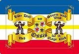 Cartel de chapa 20 x 30 cm abovedada sombrero a la tormenta y el viento Ossis Mecklemburgo Pomerania Occidental