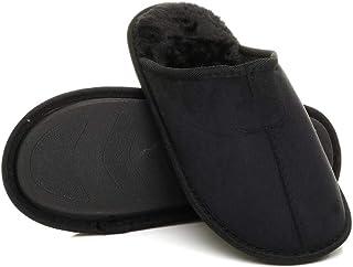 Ajvani Mens Flat Winter Fur Lined Memory Foam Gift Mules Slippers House Shoes Size