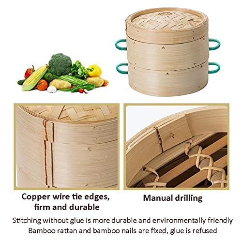 LTLWSH Vaporera de bambú Orgánico, Sabor Oriental Casero, Hecho a Mano, Diferentes Niveles, Olla de Vapor de Bambú Oriental, Vaporizador de Bambú para Arroz, Verduras, Carne, Pescado,13CM