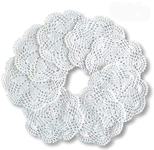 8pcs Crochet redondo algodón encaje mesa esteras hechas a mano cocina Doilies Crochet 7 pulgadas blanco