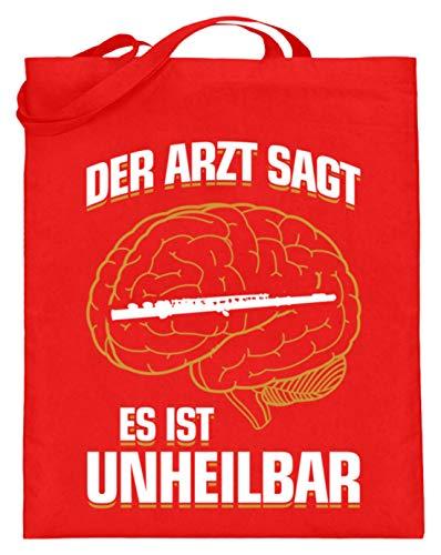 shirt-o-magic Querflöte: .es ist unheilbar - Jutebeutel (mit langen Henkeln) -38cm-42cm-Rubinrot
