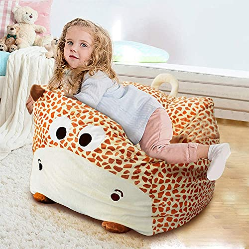 Stuffed Animal Storage Bean Bag Chair for Kids,24' Extra Large Beanbag Cover Only,Plush Toys Organization and Holder(Yellow Giraffe)