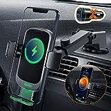 Auckly Qi 15W Cargador Inalámbrico Coche,【Ocultar botón】 Wireless Car Charger Soporte con Bloqueo Automático Rápida Salida de Aire para iPhone 11/11 Pro MAX/XS MAX/XR/8 Samsung/Huawei/Xiaomi y Otros