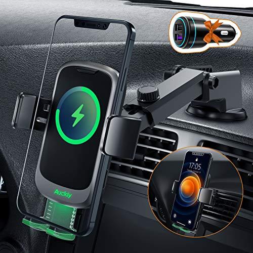 Auckly Qi 15W Caricatore Wireless Auto,【Pulsante Nascondi】Auto-Bloccaggio Supporto Telefono Auto,RicaricaWirelessAuto per iPhone 12 Pro Max Mini 11/Xs/XR/8, Supporto Smartphone per S20/S10 e Altri