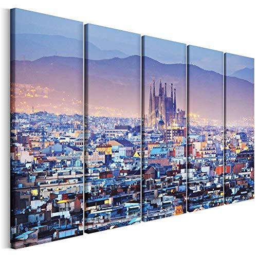 Revolio - Cuadro en Lienzo - impresión artística - 5 Partes - Decoracion de Pared - Tipo C - Tamaño: 150 x 100 cm - Barcelona Ciudad Azul