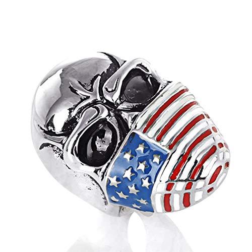 ANAZOZ Ringe für Herren Schädelkopf mit Flagge Biker Herrenringe Gothik Edelstahl Biker Herren-Ring Bunt Silber Größe: 60 (19.1)
