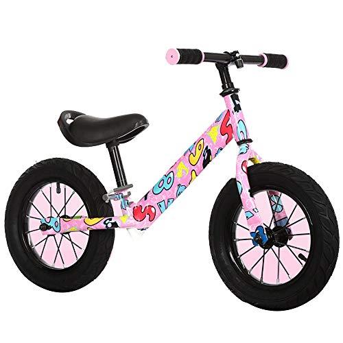 YumEIGE Loopfiets voor jongens en meisjes, 2-6 jaar, pneumatisch wiel, frame van koolstofstaal, zwart, roze, wit roze