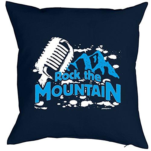 Coussin : Rock the Mountain. Petit présente avec motif imprimé