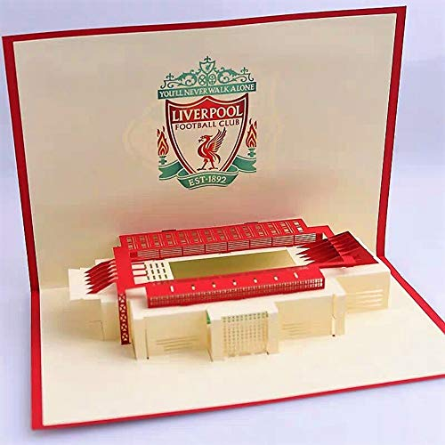 BC Worldwide Ltd Handgefertigte Pop Up Geburtstagskarte Liverpool Football Stadium Karten, Weihnachtskarte, Hochzeitstag, Vatertag, Valentines Cards