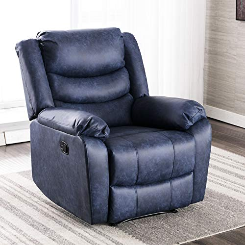 ANJ Recliner Chair with Overstuffed Arm and Back, Breathable Bonded Leather Classic Recliner Single Sofa Home Theater Seating, Navy