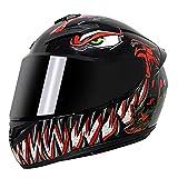 RTGE Casco Integral de Motocicleta para Adultos con 3 Opciones de Lentes certificados Dot Cascos para Motocicletas para Hombres Mujeres Viajes Diarios al Trabajo (patrón Venom),A,60~61cm XL