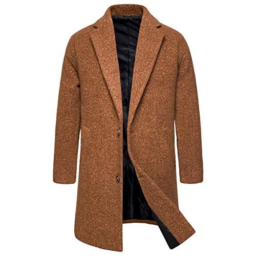 Aowls Elegante wintermantel voor heren, slim fit, 3-knops wollen mantel voor mannen
