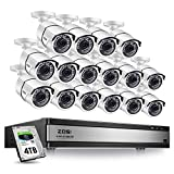 ZOSI H.265+1080p 16 Channel Security Camera System,16 Channel DVR with Hard Drive 4TB and 16 x Outdoor Indoor CCTV Bullet Camera 1080p with 100Foot Long Night Vision and 105°Wide Angle