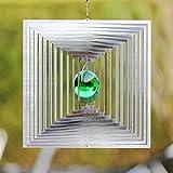 Windspiel MAGISCHES QUADRAT mit 35mm grüner Glaskuge l-absolut Wetterfest-