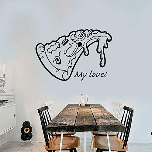 Preisvergleich Produktbild xinyouzhihi Pizza Pizzeria Logo Schild Essen Restaurant Aufkleber Vinyl Kunst Wandtattoo Dekoration Küche Wandbild Remo 111x75cm