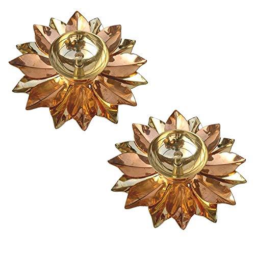SSR Lotusblüten-Design, mehrfarbiges Messing, Lotus, Akhand, Kuber, Diya Jyot Puja für Zuhause, Öllampe für Anbetung, Deepak (2 Stück)