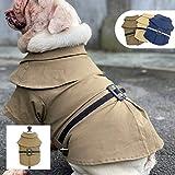 Lovelonglong Abrigo de invierno para perro, a prueba de viento, cálido, suave, cómodo, con cierre de botón, para perros pequeños, medianos y grandes, color topo B-S