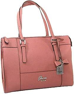 ba61ab2b99d8 New Guess Logo Purse Large Satchel Hand Bag Tote Pinole Pink Mauve Silver