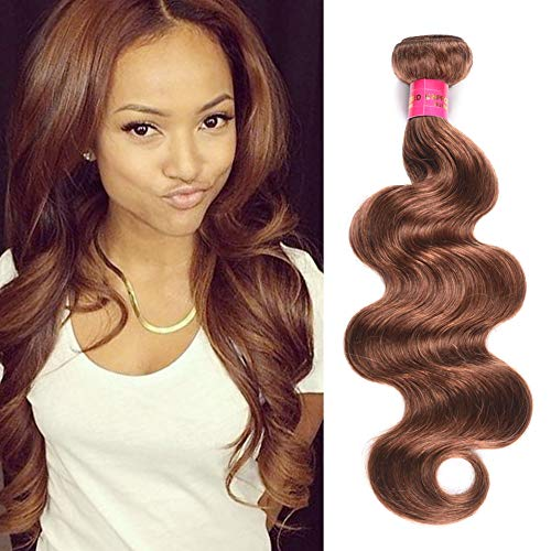FASHION LADY 1 Bundles Body Wave 8A Grade Peruvian Virgin Remy Hair Color 30 100gram/Piece Hair Extensions Weaves(Dark Auburn Color 30,22Inch)