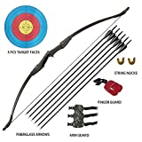 Tongtu Archery Recurve Bow and Arrow Set for Adults Beginners 30 40Lbs Takedown Bow Kit with Arrows Target Left Right Hand Outdoor Training Target Practice Toy (30LBS)