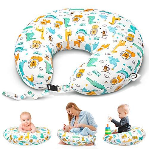 Bamibi® Cojín Lactancia Bebé Multifuncional con Broche Ajustable, Funda 100% Algodón Extraíble y Lavable, Relleno 100% Poliéster (Animales)
