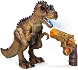 Greenbo Dinosaur Toys Jurassic T Rex Battle Attack Shooting Action Figure Multifunction Realistic Cool Walking RC Tyrannosaurus Rex Toy Good Dinosaur Toys for Kids Boys Girls 3up