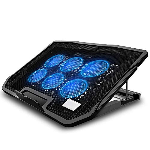 Big Shark Laptop Cooling Pad for 12-19 Inch, Laptop Cooler with 6 Quiet Cooling Fans and Stand Height Adjustable, Notebook Cooling Pad Dual USB Ports and Adjustable The Wind Speed