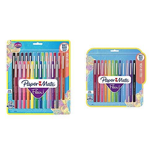 Paper Mate Flair Felt Tip Pens, Medium Point (0.7mm), Assorted Colors, 24 Count & Flair Felt Tip Pens, Medium Point (0.7mm), Assorted Colors, 12 Count