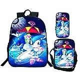 3 PCS Set Sonic School Bag Cool Sonic Printing School Mochila para niñas Niños Dibujos Animados Diseñador de Anime Adolescentes Mochilas Escolares Conjuntos 5 Bandolera