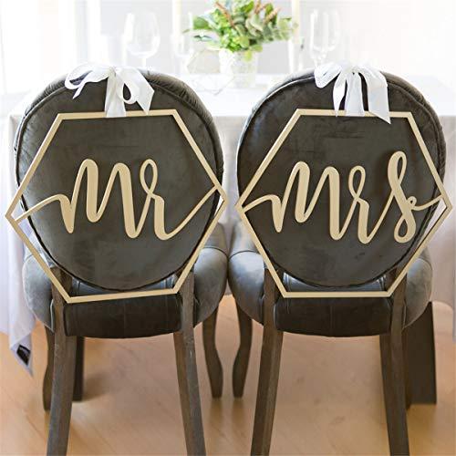 MASUNN Mr. & Mrs. Bruiloft Bruid Groom Stoel Tekenen Set Hangende Houten Feestdecoratie