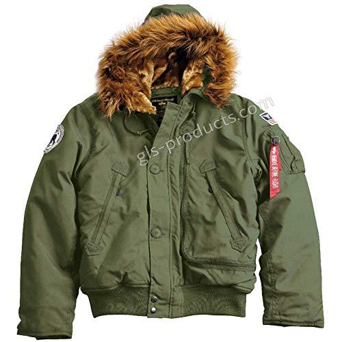 ALPHA INDUSTRIES Polar Jacket SV - wetterfestes Nylon Kapuze, Größe:L, Farbe:Dark Green