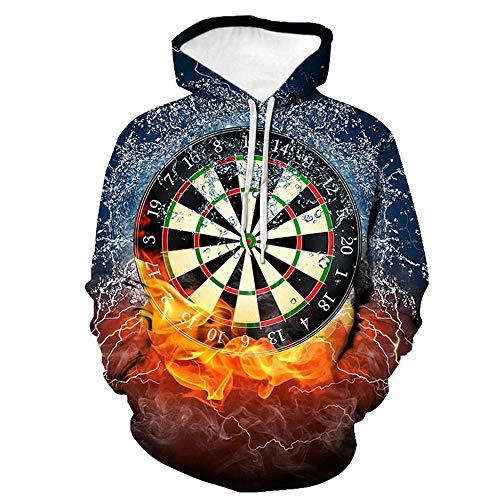BRILIGHTEN Feuer und EIS Dartscheibe Unisex 3D Hoodies Lustig Gedruckt Kapuzenpullover Personalisiert Langarm Casual Sweatshirt mit Fronttasche,3XL