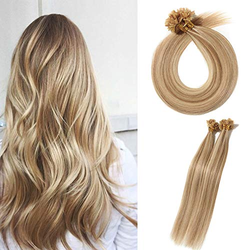 U Tip Pre Bonded Remy Human Hair Extensions 100 Strands Per Package Nail Tip Italian Keratin Fushion Hairpiece Long Straight Silky For Women #12P613 Golden Brown&Bleach Blonde 22 inches 50g