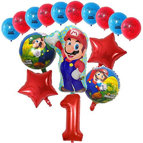 Globos 16pcs Dibujos animados Super Mario Luigi Bros Bloons Set 12inch Latex 30 pulgadas Número Globo Decoraciones de fiesta de cumpleaños Decoraciones para niños Regalo ( Color : Red number 1 set )