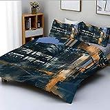 Juego de funda nórdica, pintura digital, ciencia ficción, paisaje urbano, arquitectura, tecnología Cyberpunk, juego de cama decorativo de 3 piezas con 2 fundas de almohada, negro naranja azul, el mejo